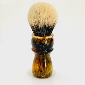 Handcrafted Shaving Brush Amber Black and White