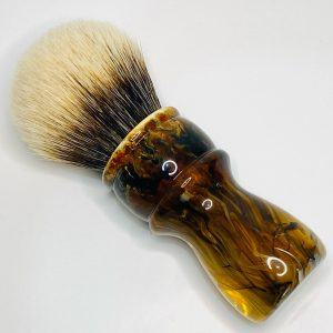 Handcrafted Shaving Brush Amber Black and White 1