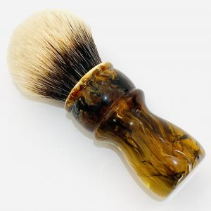 Handcrafted Shaving Brush Amber Black and White 2